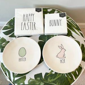 NEW Rae Dunn Easter Plates and Napkin Bundle